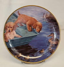 "Franklin Mint LOOK BEFORE YOU LEAP Labrador Puppies 8"" Plate by Randy McGovern"
