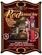 PinUp Girl Hot Rod Gas Pump Roadhouse Metal Sign Man Cave Club Garage Shop SM294