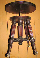 ANTIQUE PIANO STOOL EAGLE CLAW GLASS BALL FEET  UNIQUE WOOD ETCHING PICKUP LI NY