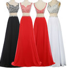 RED WHITE Formal Party Evening Prom Masquerade Bridesmaids Long Maix Dress Gowns