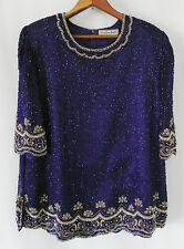 Vtg Creative Touch Sequin Beading Top Purple Short Sleeve Silk Size XL