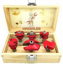 """6pc Straight Angle Raised Panel Carbide Router Bit Set 1/2"""" Shank Router"""