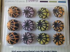 Fabric brads  3 packs 36pieces SPOOKVILLE SPIDER WEBS HALLOWEEN scrap booking