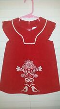 Hanna Andersson Dress Red Corduroy Embroidered Sz 80, 10-24M Birds