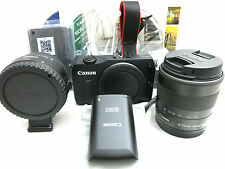 Canon EOS M 18MP digital camera kit w. 18-55mm / 22mm lenses, flash, adapter kit