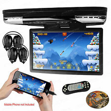 "Headphones 15.6"" HDMI Coach Bus Flip Down Car DVD Player Game Monitor Roof Mount"