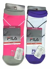 4 Pair Fila Size 5 - 9 White No Show Q Wick Dry Mesh Arch Support Socks NEW