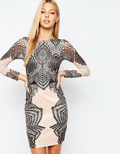 Stunning Lipsy Lace Print Size 10 Dress Black and Nude Long Sleeve Party Rare