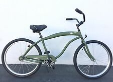 "GreenLine Boardwalk 26"" Men 1-Speed Beach Cruiser Bicycle Bike Flat Army Green"