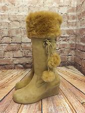 Ladies Wrangler Tan Suede Zip Fastening Wedge Heel Long Boots Size EU 37
