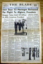 1981 headline newspaper IRANIAN HOSTAGE CRISIS -52 US Hostages are Freed by Iran