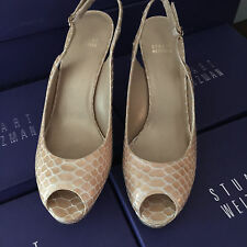 NEW STUART WEITZMAN WOMENS SHOES SZ 11 BEIGE PATENT LEATHER SAND CRTSTAL