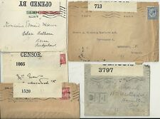 5 x WW1 GB OPENED BY CENSOR LABELLED COVERS TO DENMARK CANADA & SWITZERLAND
