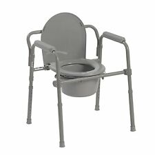 Heavy Duty Adult Bedside Commode Chair Seat Safety Toilet Bathroom Fold Portable