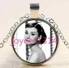 Audrey Hepburn Cabochon Tibetan silver Glass Chain Pendant Necklace #2470