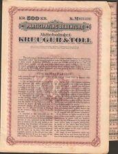 titre 500 KR: KREUGER & TOLL, allumettes suédoises (SUÈDE) (K)
