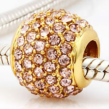 ANDANTE-STONES 24K GOLD PAVE BEAD AB KRISTALL (NUDE BEIGE ROSA) #3261 + GESCHENK