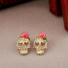 Gorgeous Goth Punk Shining Rhinestone Pave Skull With Enamel Rose Accent Earring