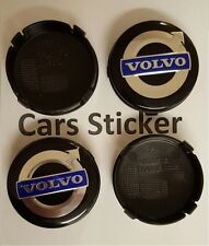 Set of 4 Volvo 64mm Black Blue Alloy Wheel Centre Cap S40 S60 S80L XC60 XC90 S90