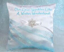 Our Love Sparkles Like A Winter Wonderland, Crystal Snowflake Ring Bearer Pillow