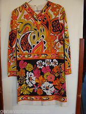1970s Psychedelic Retro Mod Hippie MR. DINO Dress signed size 10 women flowers
