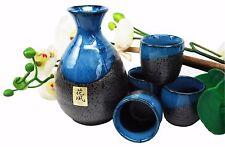 Japanese Glazed Earthenware 10oz Blue Night Art Sake Set Flask With Four Cups