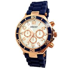 MONTRE FEMME BLEU MARINE CUIVRE MODE OR ROSE CHRONO ERNEST SILICONE IDEE CADEAU