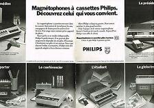 PUBLICITE ADVERTISING 104  1974  PHILIPS  les magnétophones à cassettes ( 2 p)