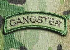 GANGSTER TAB GANGSTA ARMY USA MILITARY ISAF MULTICAM VELCRO BADGE MORALE PATCH