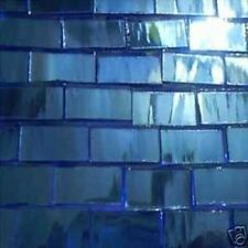 "50 BORDER  1/2""x 1""  OCEAN  blue mirror Mosaic Tile Glass Tiles Art MADE IN USA"