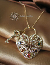 Heart&Key Pendant&Necklace/18K  Gold Plated/Swarovski Crystals/Colorful/RGN296G