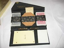 Vintage Bridge Set Skai Hide Advertising Clutch Cards Score Pad Coasters EXC