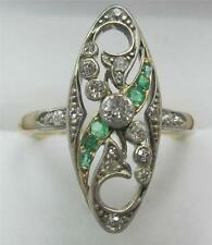 Art Nouveau Edwardian antique diamond and emerald marquise elegant 18ct ring