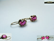 Vintage NATURAL RUBY Earrings SILVER 925 GOLD PLATED stamp STAR USSR ANTIQUE