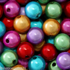 MIRACLE BEADS COLOR MIX RED PURPLE GREEN GOLD FUCHSIA TURQUOISE 8MM 80 PC MBX81