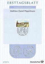 BRD 2012: Pöppelmanns Dresdner Zwinger! Ersttagsblatt der Nr. 2905! 1701