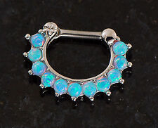 1 Pc 11 Tiny 2mm Multi Lt Blue Fire Opal Stone Septum Clicker Nose Ring 16g