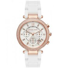 Michael Kors Women's Parker White Silicone Over Rose Gold Steel Watch MK6405