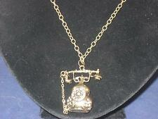 """NEW VTG INSPIRED GOLDTONE TELEPHONE PENDANT W/CLEAR CRYSTALS 27""""NECKLACE NA017"""