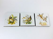 Vintage Ceramic Tiles with Bird Motif, Trivet Set - Coasters of Birds, Set of 3