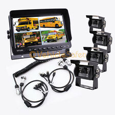 "4AV TRAILER CABLE 9"" QUAD MONITOR BACKUP SYSTEM SAFETY REAR VIEW CAMERAS"