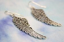 925 sterling silver earrings exquisite Feather pewter 1 pair Angel Wing long