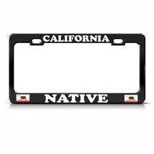 NATIVE CALIFORNIA FLAG Metal Heavy Duty Black License Plate Frame Tag Border