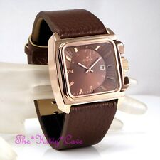 Retro Square Rose Gold Plt & Brown Leather Designer S.Steel Date Display Watch