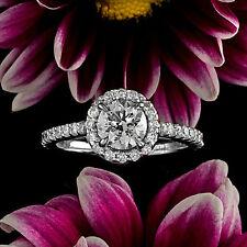 2.00 CT H/VS2 ROUND CUT DIAMOND HALO BRIDAL ENGAGEMENT RING 14K WHITE GOLD