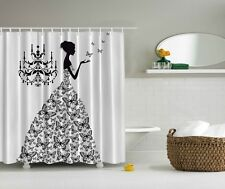 "Black White Girl Butterfly Polyester Fabric Shower Curtain 70"" Bathroom W Hooks"