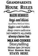 GRANDPARENTS HOUSE RULES Words Lettering Wall Decal Art Sticker Quote Saying