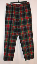 PENDLETON Womens Size 14 Red Green Black Plaid Wool Pants Lined Straight Leg
