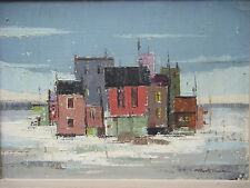 MONTREAL QUEBEC CANADIAN OIL PAINTING MCM URBAN SCENE POWELL TRUDEAU 1950s