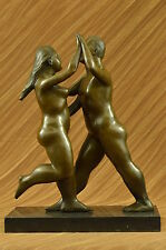 SIGNED FERNANDO BOTERO BRONZE STATUE DANCING WOMAN & MAN ABSTRACT MODERN DB